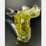 De gele Waterpijp van het Glas van de Modellering van de Draak van de Waterpijp van het Glas