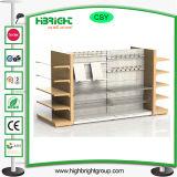 Estantes y estantes de madera de metal del supermercado