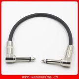 """Бас гитары производит эффект кабель заплаты аппаратуры с 1/я """" кабелями разъемов Ts 6.35mm правыми Angled"""