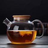 Pot van de Koffie van het Glas van het Ontwerp van de uitvoer de Europese met de Theepot van het Glas van het Deksel van het Bamboe
