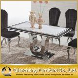 大理石カラー緩和されたガラスのダイニングテーブル