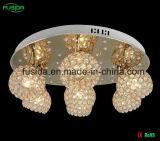 6つのランプのかさが付いている水晶天井灯LEDの水晶シャンデリアライト
