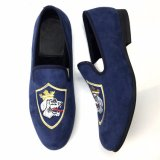 El Diseñador de hecho personalizado de terciopelo bordado Mens zapatos mocasines