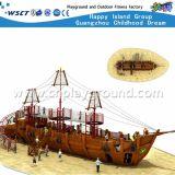 遊園地の運動場はからかうおもちゃの販売(HF-16801)のための木の海賊船の屋外の運動場装置を