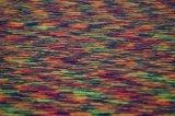 Lmn798 폴리에스테 털실은 공간에 의하여 염색된 저어지 단 하나 자카드 직물 씨실 뜨개질을 한 탄력 있는 신축성 직물을 염색했다