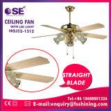 Ventilador de teto decorativo da madeira compensada luxuosa com luz do diodo emissor de luz (HgJ52-1512)