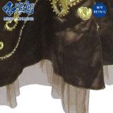 Brown Slimmering-Cintura-decusados escote en V de Exponer-Back atractivo del vestido señoras de la moda