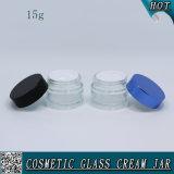 tarro de cristal vacío cosmético de cristal transparente de la crema de cara de 15g el 1/2 onza