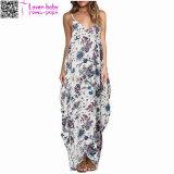 Estampados florales V Cuello tira Spaghetti Maxi Dress L51413