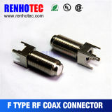 Conector F coaxial hembra recto para placa PCB