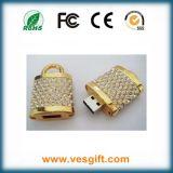 L'argent/Golden cadeau promotionnel de conception de verrouillage de disque de mémoire USB