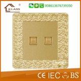 British Standard timbre de la puerta interruptor de la pared Pintura Mosaico de oro