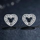 Monili cubici della pietra di Zirconia dell'orecchino dell'argento sterlina di disegno semplice 925 del cuore