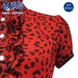 Blusa elástico de la manera de las señoras del botón del Colocar-Collar de la Corto-Funda del Rasclel-Cordón rojo