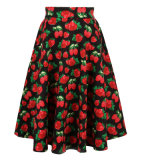 標準的ないちごプリント女性のための大きい振子の長さ党スカート