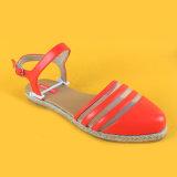 Дамы плоские закрытым носком PU Кожаные босоножки Espadrilles красного цвета