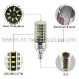 La luz E14 10W del maíz del LED refresca la lámpara de plata blanca del bulbo de la carrocería LED del color