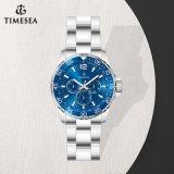 Relógio submarino de aço inoxidável, cor azul, dia luminoso, relógio 24 horas, relógio 72385