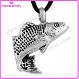 Cenizas Urna joyería collar colgante de acero inoxidable de pescado