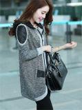 Mujeres de calidad manera coreana de la alta capa larga con capucha informal