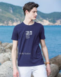 OEM bleu de T-shirt de coton de fabrication de vêtement d'homme