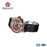 Relógio de relógio de couro de alta qualidade com relógio de esqueleto preto e couro
