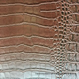 Cuero marrón oscuro de imitación de cocodrilo