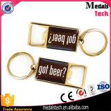 Promoção Linha de zinco chaveiro abridor de garrafa de ouro com logotipo epoxy