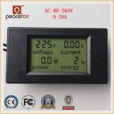 Medidor de potência de Digitas da energia da potência do amperímetro da tensão da fase monofásica 20A 4in1 da C.A.