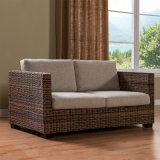 自然な藤の家具の庭、テラス、ホテル007-2cのためのHand-Knitted枝編み細工品2のシートのソファー