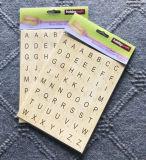Etiquetas engomadas de madera del alfabeto del efecto con 2 hojas