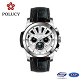 China fabricantes OEM cronógrafo homens relógios de couro