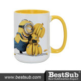 Bestsell 15oz Inner and Rim Color Sublimation Ceramic Photo Mug (B21T-03)