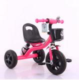 赤ん坊の三輪車は水差しが付いている三輪車の子供の三輪車をからかう