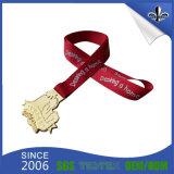 Kundenspezifisches Produkt-Polyester-materielles preiswertes Andenken-Feld-Medaillen-Farbband