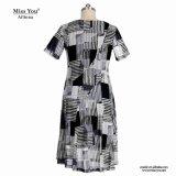 Block-Muster V-Stutzen Frauen-Kleid des Fräulein-You Ailinna 305538 schwarzes