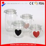 Bote de cristal de Cookie Jar de los alimentos dulces jarra de vidrio con tapa para Navidad