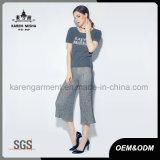 Ronde côtelée cou à manches courtes Tee-shirt en tricot femmes Logo personnalisé