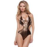 Ropa interior femenina de las mujeres del sexo del diseño del leopardo de Catsuit de la salida rápida