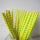 Желтый и зеленый Polka Dot бумаги для соломы