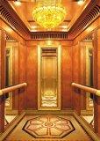 Elevador del pasajero con la cabina de lujo de la decoración