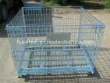 Almacén apilable de alambre de acero de malla de palets Jaula / Almacenamiento jaula