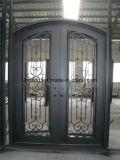 Écran de sécurité porte d'entrée en fer forgé avec haut de la conception des sourcils