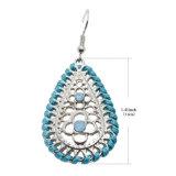 밖으로 모조 다이아몬드를 가진 물 하락 귀걸이를 매단다 은에 있는 Earings를 속을 비게 하십시오