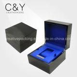 Caixa de relógio de madeira do preto novo do projeto
