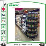 Mensola della gondola del supermercato della parete del negozio con la lampada