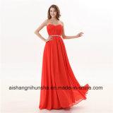 女性の軽くて柔らかい恋人の水晶のAラインの長いイブニング・ドレス