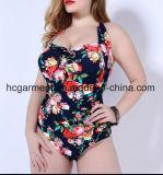 Сладостный крупноразмерный напечатанный Swimsuit для женщин, износ заплывания Плюс-Размера цельный