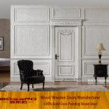 Porta de interior de madeira maciça de alta qualidade e cor branca (GSP2-076)