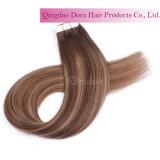 毛の拡張の卸し売りインドのRemyの人間の毛髪の習慣PUテープ